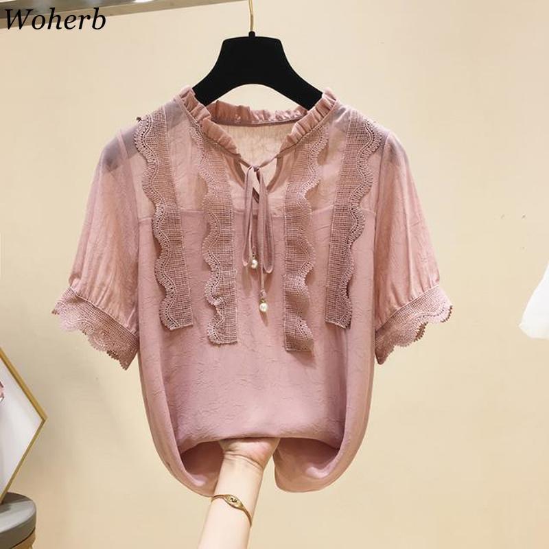 Woherb 2020 Modis Women Plus Size Chiffon Blouses Tops Summer Ruffle Lace Shirt Female Elegant Bandage Blusas Femininas 22523