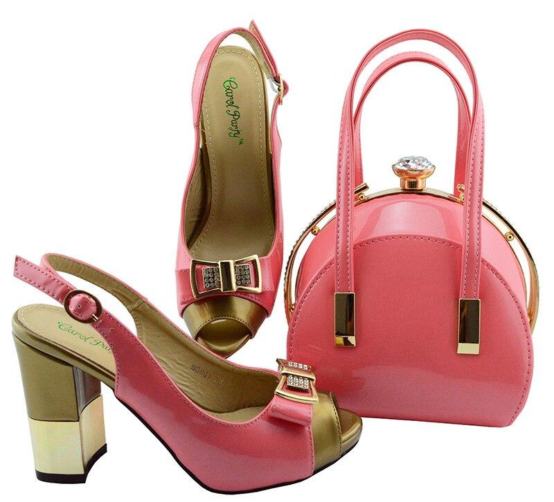Африканский Для женщин итальянская обувь и комплекты с сумкой для Вечеринка фуксии с камнями итальянская кожа рук комплекты с сумкой Разме...