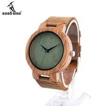 """Bobo bird c18 de diseño personalizado de madera reloj de pulsera con banda de cuero marrón genuino japón 2035 """"madera de cuarzo reloj como regalo"""
