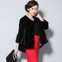 Nerazzurri ladies faux fur coats jackets for women 5xl plus sizes O-neck 2017 winter black short striped fluffy fake rabbit fur