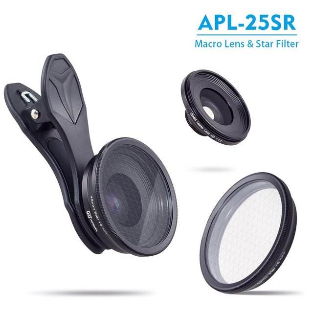 APEXEL 2in1 Camera Lens Optical 20X Macro Lens 25mm Microscope Photography Mobile Phone Lens Kit with star filter For Smartphone 5