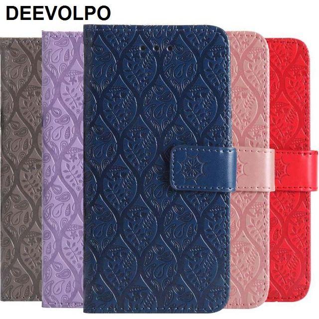 DEEVOLPO Phone Case For iPhone X XS MAX XR 8 7 6 6S Plus 5 5S SE 7Plus 6Plus Rattan Flowers Wallet Cover Stand Case Cover D06Z