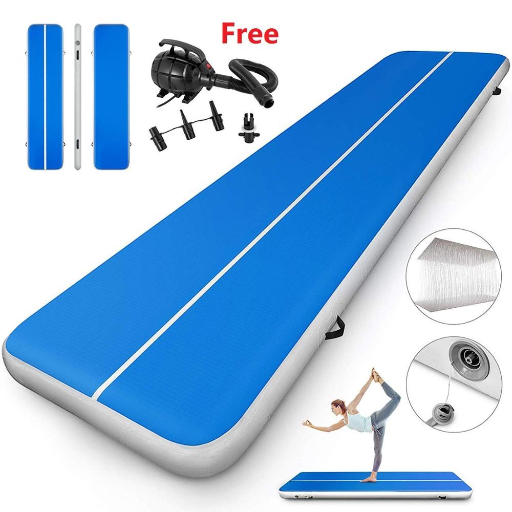 Plancher d'air gonflable de 5 M/6 M/7 M en vente tapis de gymnastique de couleur bleue avec pompe à Air usage domestique tapis de rebond de taille moyenne/piste de dégringolade/piste d'air