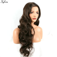 Sylvia #6 Natural Long Brown Wig Bouncy Curly Haircut Heat Resistant Glueless Half Hand Tied Synthetic Lace Front Wigs For Women