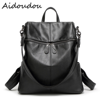 High Quality Women Genuine Leather Backpack Water Wash School Bags For Teenagers Girls Korea Style Laptop