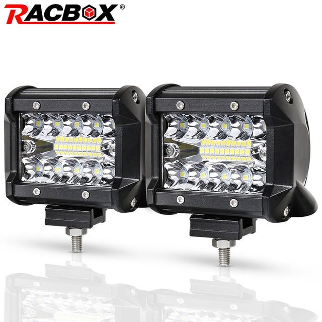 RACBOX 4 بوصة LED قضيب مصابيح عملي 72 واط 60 واط 48 واط 42 واط 18 واط الفيضانات بقعة كومبو شعاع 12 فولت 24 فولت قبالة الطريق 4WD ATV UTV UAZ UTE دراجة نارية قارب