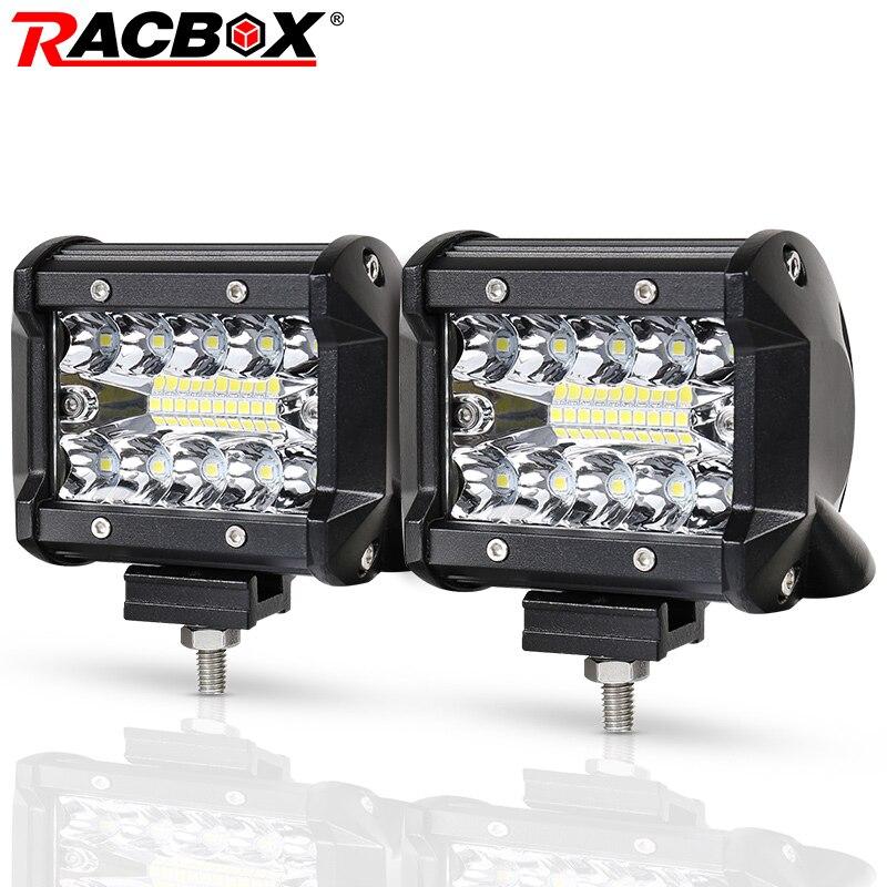 RACBOX 4 inch LED Arbeit Licht Bar 72 W 60 W 48 W 42 W 18 W Flood Spot Combo strahl 12 V 24 V Off Road 4WD ATV UTV UAZ UTE Motorrad Boot