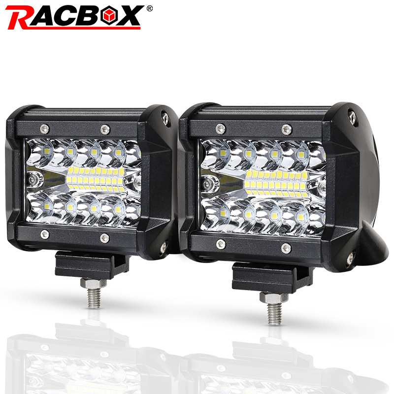 RACBOX 4 inch LED Work Light Bar Three Row 60W Flood Spot Combo 12V 24V Off Road 4WD ATV UTV Motorbike Boat 4 LED Driving Light