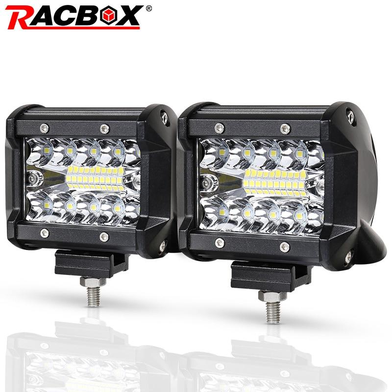 RACBOX 4 inch LED Work Light Bar Three Row 60W Flood Spot Combo 12V 24V Off Road 4WD ATV UTV Motorbike Boat 4 LED Driving Light