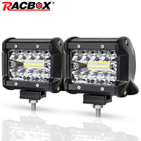 RACBOX 4 Inch LED Work Light Bar Tri Row 60W Flood Spot Combo Beam 12V 24V