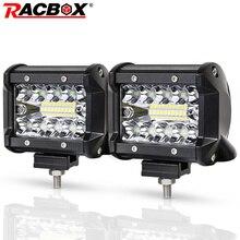 RACBOX barre lumineuse de travail, 4 pouces, LED, 72W, 60W, 48W, 42W, 18W, faisceau combiné, 12/24V, tout terrain 4WD, ATV UTV UAZ UTE, pour moto, bateau