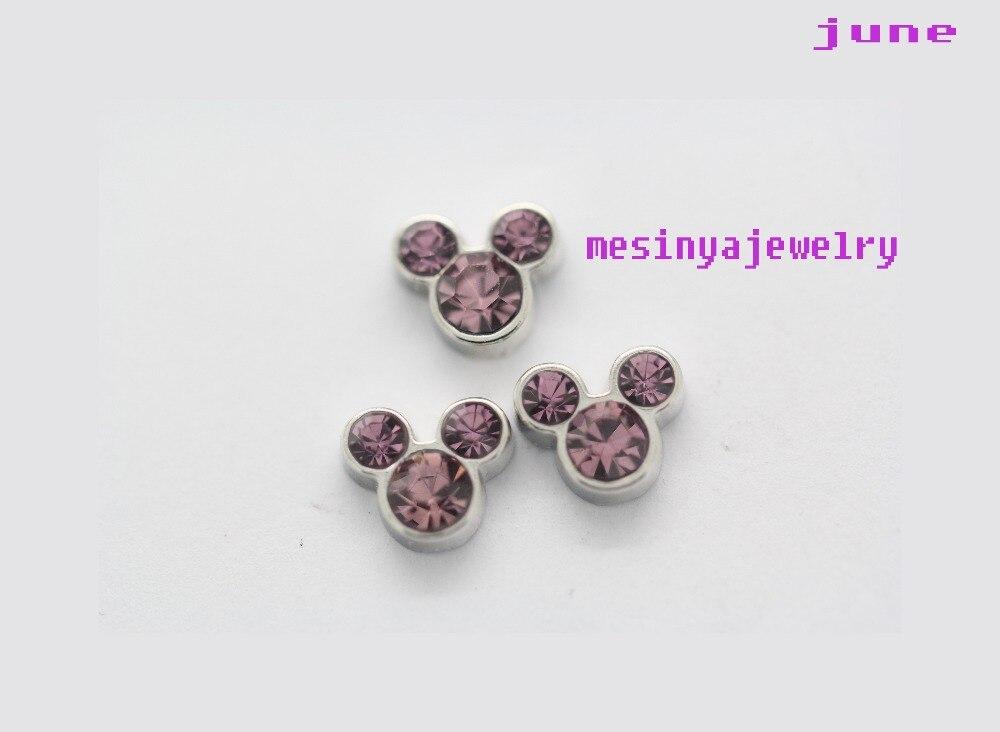10 unids ratón sombrero nacido mes junio encantos flotantes para el Locket  de cristal cantidad mínima  15 por artículos mezclados orden 423861aa371