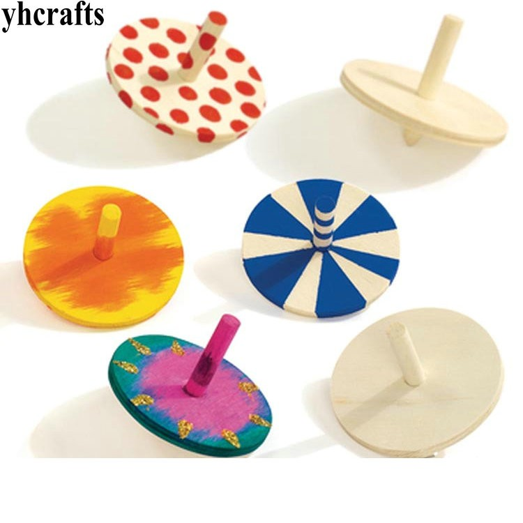 12pcs/lot.paint Unfinished Spin Top,spinning Top,wood Gyro,kindergarten Arts And Toys,wood Toys,birthday Gift,christmas Toys Attractive Fashion Mother & Kids Baby Bedding