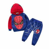 2019 meninos roupas agasalho spiderman 2 pçs/pçs/set ternos crianças conjunto roupas roupas infantis menino crianças casaco calças conjuntos
