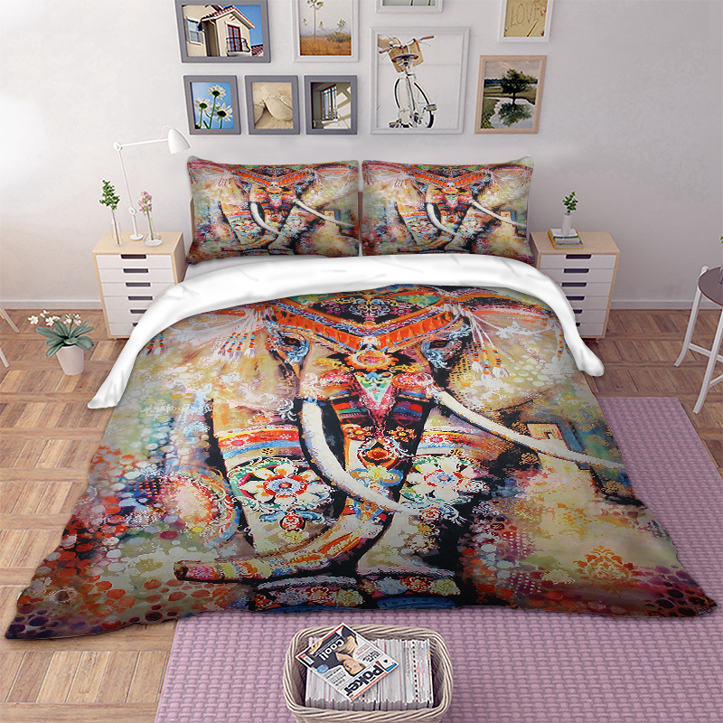 Bohemia Juego de cama Elefante Funda nórdica Funda de edredón Funda - Textiles para el hogar