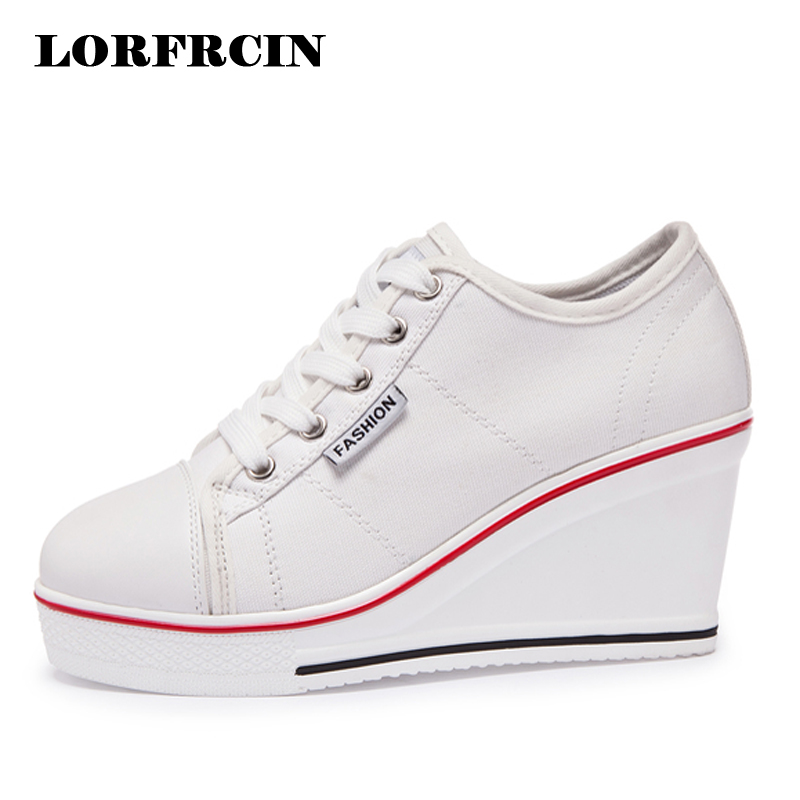LORFRCIN Women's Sneakers Wedges Canvas Shoes Woman Breathable Platform 8cm Height Increasing Casual Shoes For Women High Heels plus size 43 denim canvas shoes woman wedges platform sneakers for women 8cm high heels ladies summer casual shoes 2018 lorfrcin