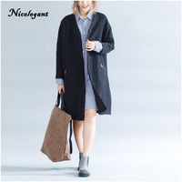 Nicelegant 2017 Winter Women Trench Coat Cotton Plus Size Striped Long Sleeve Solid Fashion Big Size