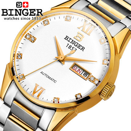 Binger Automatic watch Luxury Geniune Men watches 2016 New Fashion Super Thin Platimum Gentleman Wristwatch