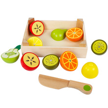 Montessori Toys Educational Wooden Toys for Children Early Learning 3D Kitchen Cutting Fruit Vegetables Board Real Life Toy