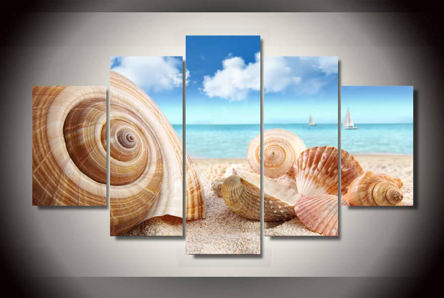 HD Printed Beach Sea Shells Conch Painting On Canvas Room