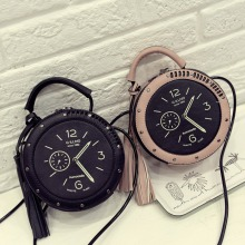 Hot Women 2019 Fashion Cute Handbags Personality Artistic Shoulder Bag Clock Alarm Small Round Rivet