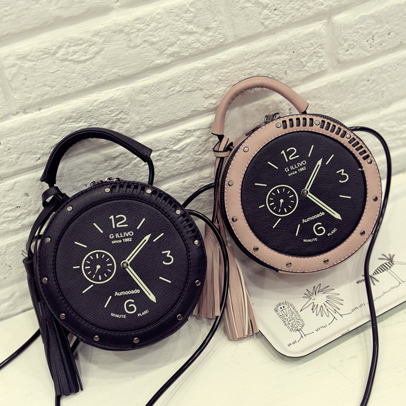 Hot Women 2020 Fashion Cute Handbags Personality Artistic Shoulder Bag Clock Alarm Clock Small Round Bag Fashion Rivet Bag