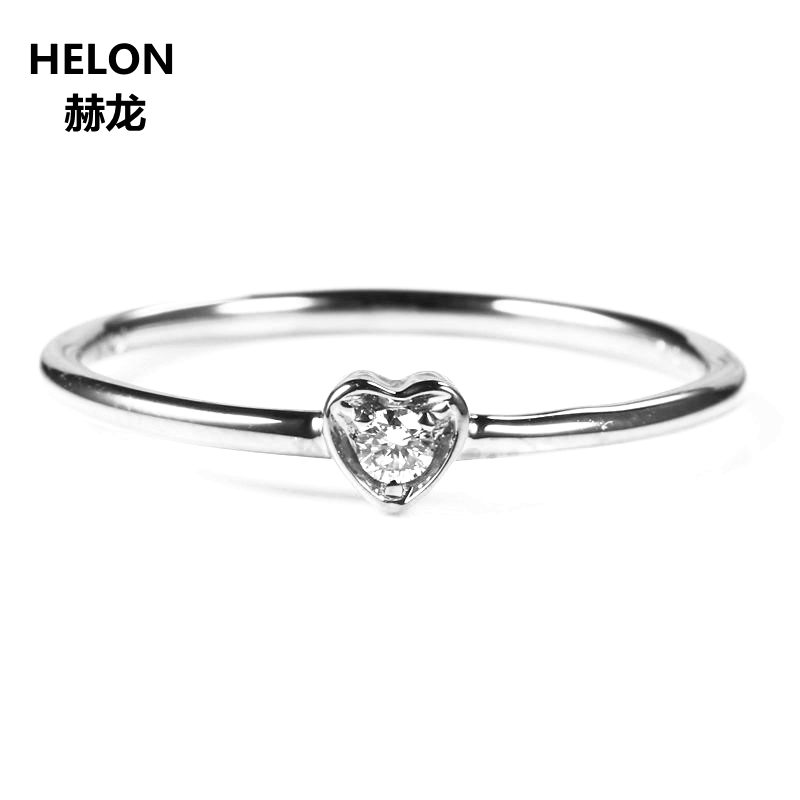 Solid 10k White Gold VS/H Natural Diamonds Engagement Ring Wedding Band Trendy Heart Women Fine Jewelry