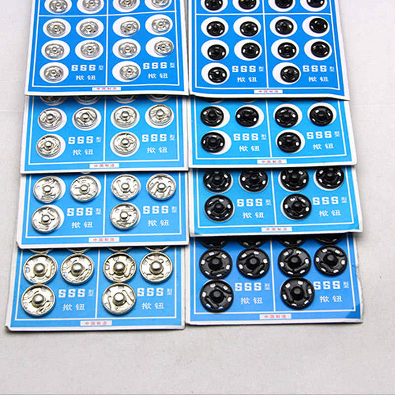 New Black White 20pcs/lot 10mm/12mm/14mm/15mm Small Metal copper Snap Fasteners Press Button Stud sewing accessory