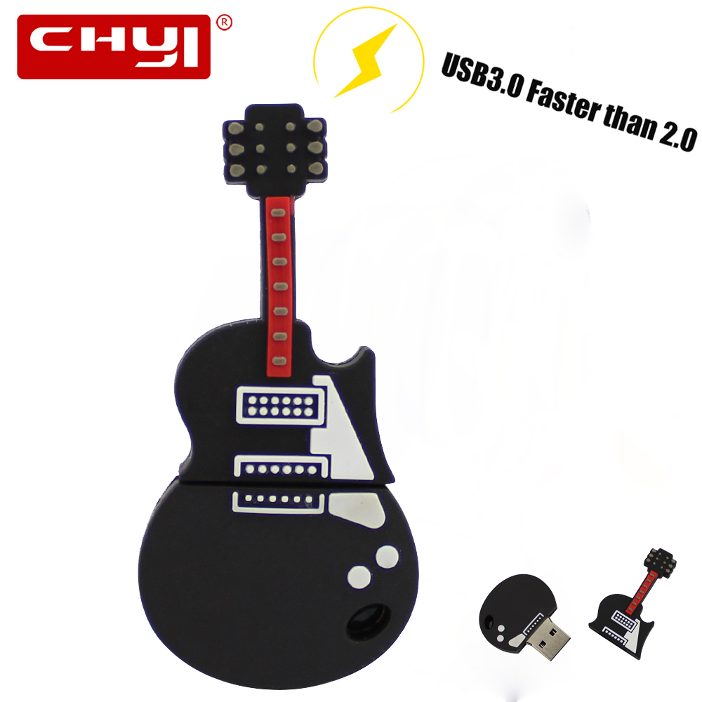 High-Speed USB 3.0 Flash Drive cartoon fancy black Electric Guitar shape pendrive Creative USB memory stick disk pen drive Gift