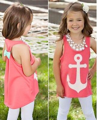 Fashion Baby Girls Kids Summer Bow Back Anchor Tank Tops Vest Sleeveless Shirt