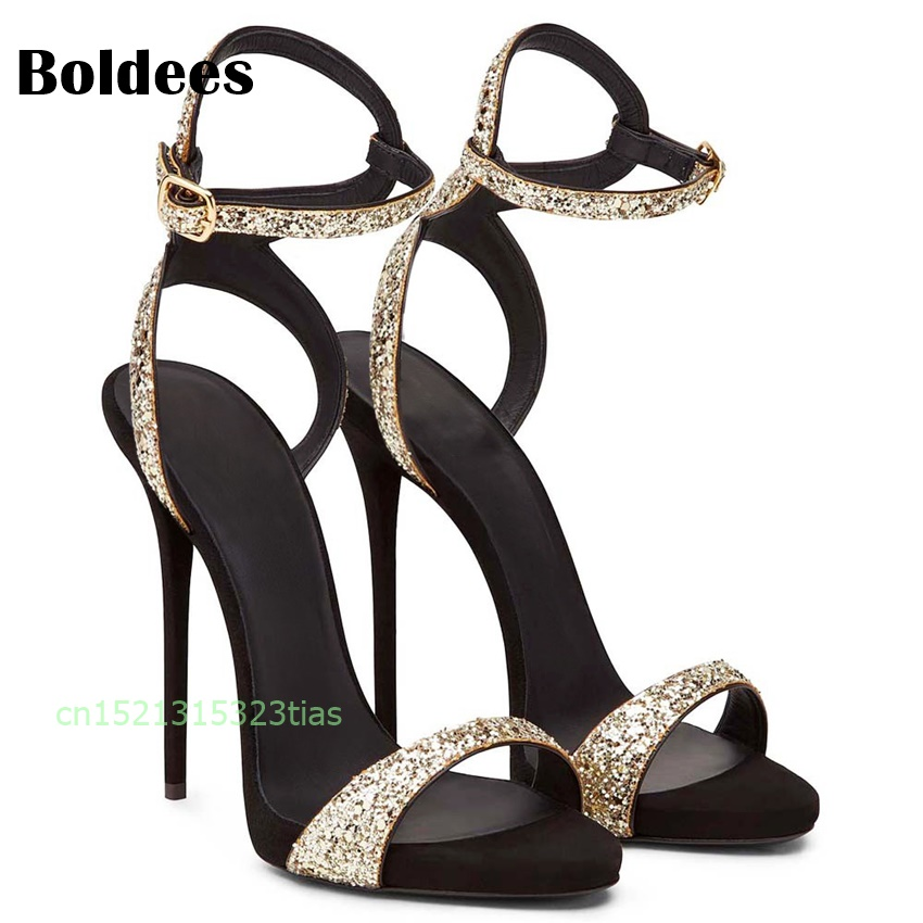 Black High Heel Sandals Women Shoes Ankle Strap Sandals Summer Gladiator Open Toe Stiletto Sandals Shoes Big Plus Size 43 hot sale big size 30 46 fashion summer women gladiator shoes sexy open toe pu leather slip on high heel sandals chd 66