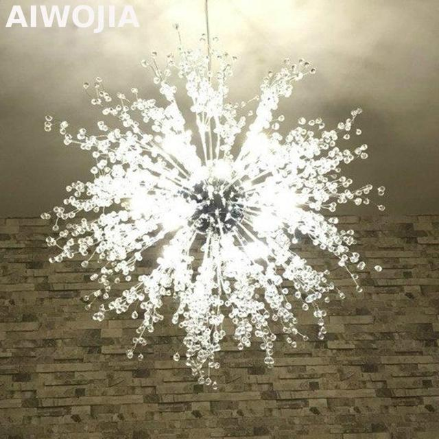 Firework led light stainless steel ball lightings restaurant foyer modern creative chandelier imitate crystal