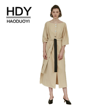 HDY Haoduoyi Women Solid Single-breasted Lantern Three Quarter Sleeve Waist Tie Midi Dress Office Lady Side Slit Autumn