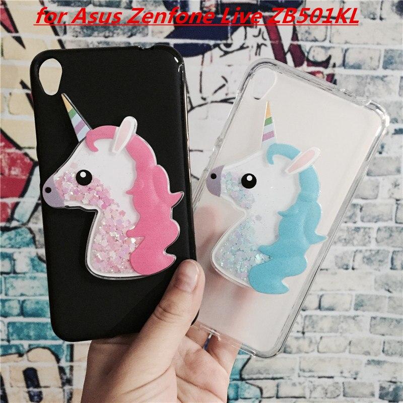 Galleria fotografica 3D Unicorn Quicksand Liquid Soft Silicone Case for Asus Zenfone Live ZB501KL Phone Cover Cartoon Diamond Funda Coque Fashion Owl