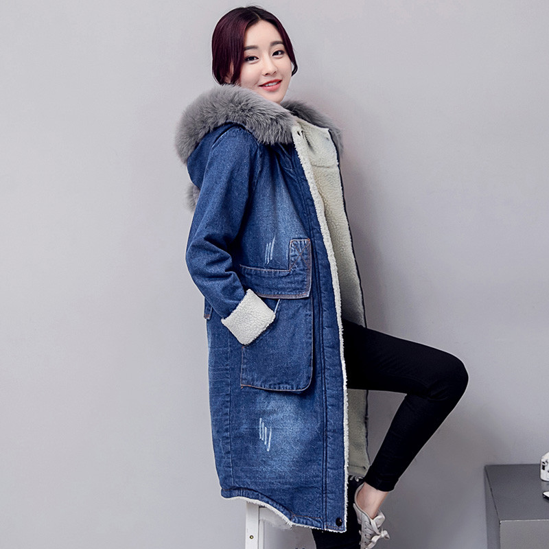 Printemps Long Dames Blouson Hiver Femelle Nouveaux Denim Mignon vent Coton De Veste Bleu Coupe Bomber Manteaux Jeans Femmes Base Automne 2018 Longue qp8fCx