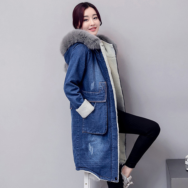 b852e2e0883a1 2018 nouveau hiver mignon Long Bomber femmes Long coton printemps automne  Bomber manteau Jeans Denim veste