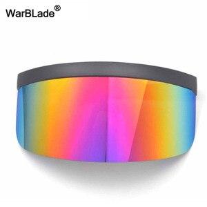 Image 2 - WarBLade חדש גדול חומת Visor משקפי שמש נשים מעצב גדול Goggle מסגרת מראה שמש משקפיים גווני גברים Windproof Eyewear