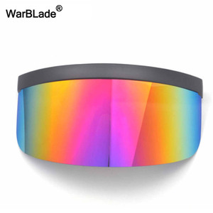 Image 2 - WarBLade yeni büyük boy kalkan siperliği güneş gözlüğü kadın tasarımcı büyük gözlüğü çerçeve ayna güneş gözlüğü tonları erkekler rüzgar geçirmez gözlük