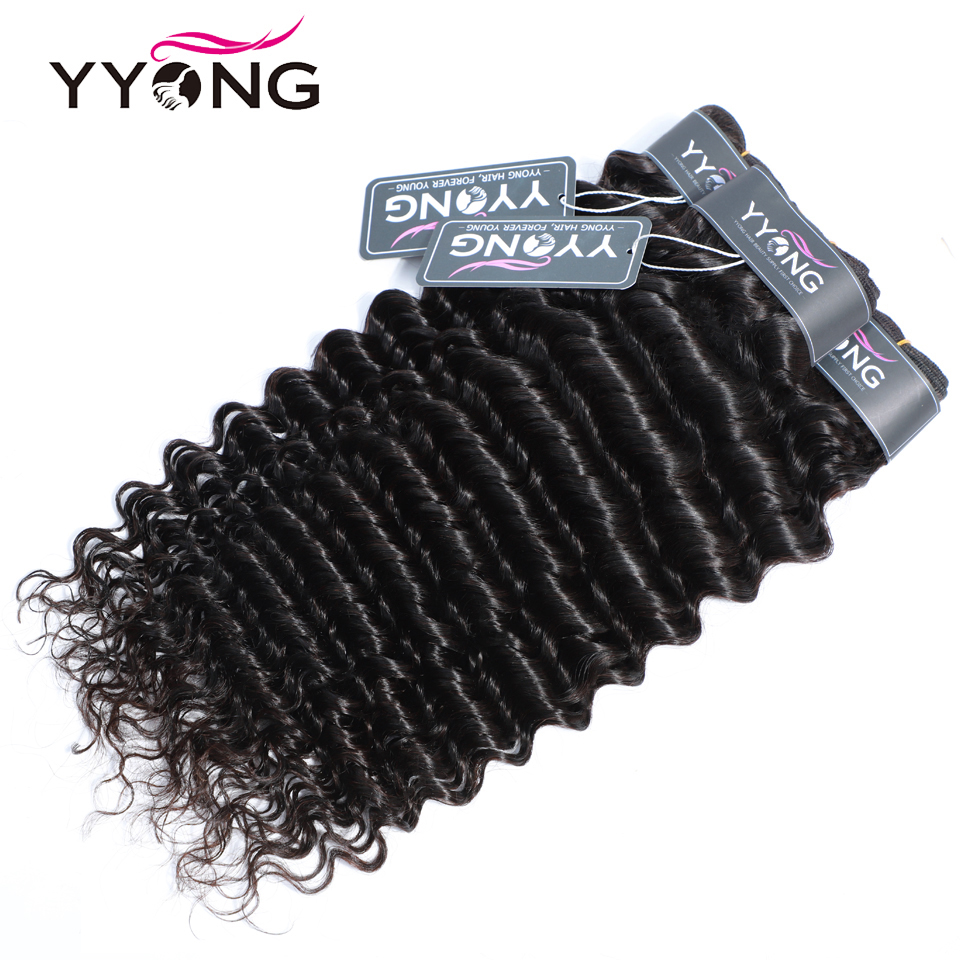 Yyong Hair 3/4  Deep Wave Bundles With Closure 100%   Bundles With 4x4 Lace Closure Can Be Dyed 3