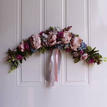Rose Peony Artificial Flowers Garland European Lintel Wall Decorative Flower Door Wreath For Wedding Home Christmas Decoration 4