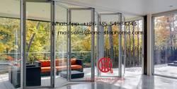 Внешний алюминиевый ламинированный Би-створчатая дверь/Складная Дверная панель, наружные разделители звукоизолированная двустворчатая