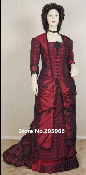 Livraison gratuite robe en taffetas rouge de vin Costume pour les vacances/robe de fonction/robe d'événement/robe de voyage