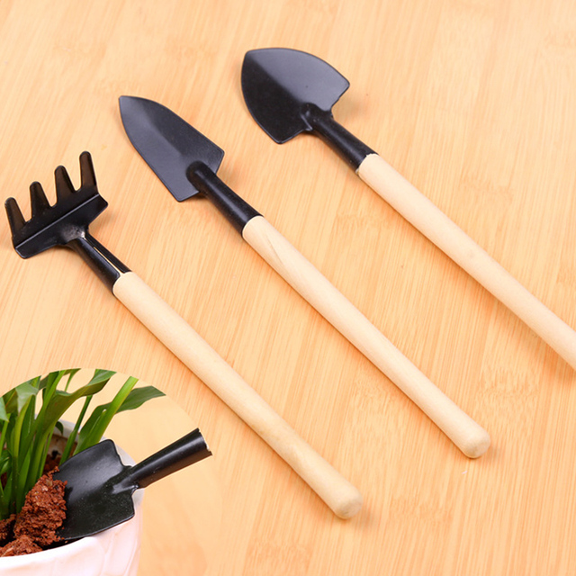 2018 new paragraph hand tools mini garden three-piece suit small shovel plant potted flowers manual spade toys  sale Garden Tools