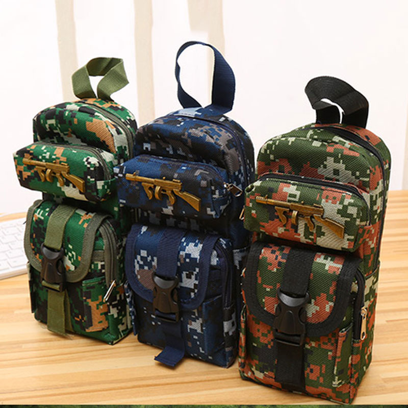 Boys CS Camouflage Pencil Case Cross Fire Mini School Bag Pencil Bag Box Student Kids Stationery School Supplies Gift camouflage big capacity canvas military school pencil case pen bag stationery pencil bags school supplies boys color random