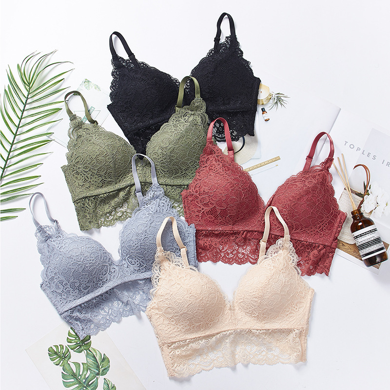 Lace Bra <font><b>Bralette</b></font> <font><b>Encaje</b></font> <font><b>Mujer</b></font> Lingerie Femme Push Up Ropa <font><b>Mujer</b></font> 2019 Adjustable Bra Gather Adjustable High Quality <font><b>Sexy</b></font> image