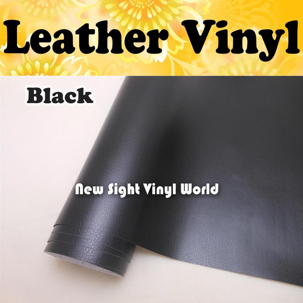 Black Leather Vinyl Wrap Leather Pattern PVC Adhesive Vinyl Film Stickers Car Internal Decoration Size:1.52*30m/Roll wrap around sizing label 33x32 250 stickers