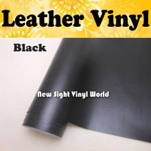 Black Leather Vinyl Wrap Leather Pattern PVC Adhesive Vinyl Film Stickers Car Internal Decoration Size:1.52*30m/Roll