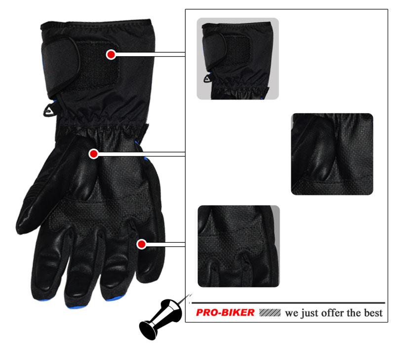 Pro-biker Guantes de invierno para motocicleta Guantes impermeables y - Accesorios y repuestos para motocicletas - foto 5