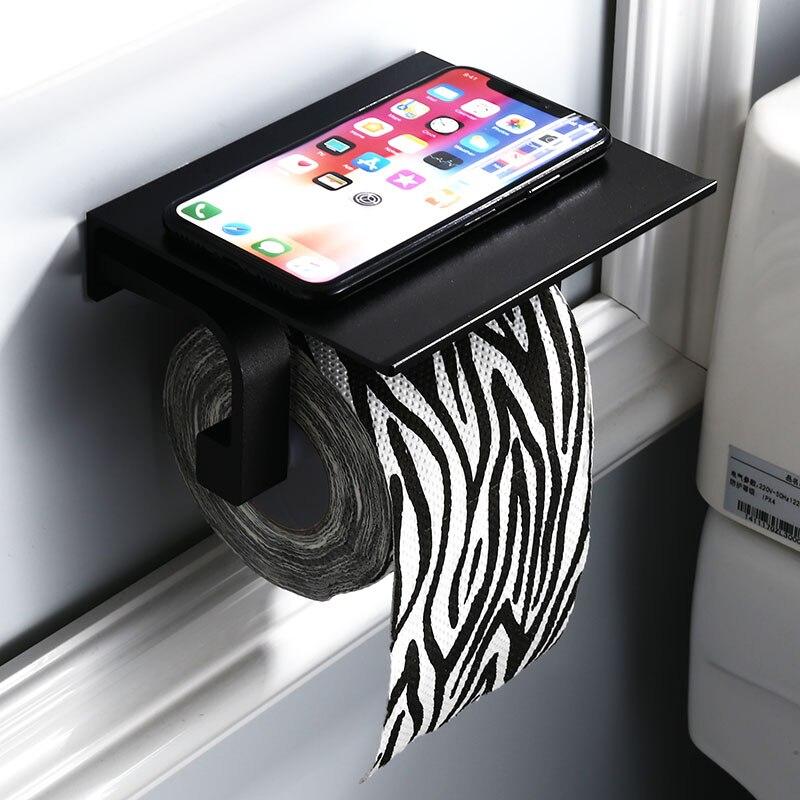 Paper Towel Holder Black Hotel Toilet Creative Roll Holder Aluminum Bathroom Shelf Bathroom Pendant Set Simple 8601