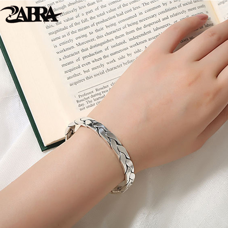 ZABRA Real 999 Sterling Silver Weave Twist Pattern Open Cuff Women Men Bangles Vintage Punk Rock Bracelets Mens Fine Jewelry multi diapers